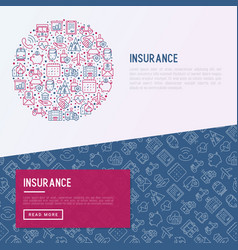 insurance concept in circle with thin line icons vector image