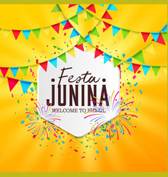 June party festa junina with party flags on vector