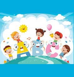 Kids and alphabet characters vector