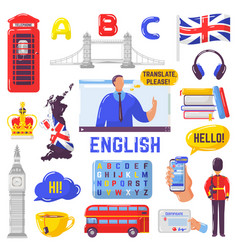 Learning english tourism to great britain london vector