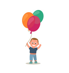 little boy holding colorful balloon flat vector image