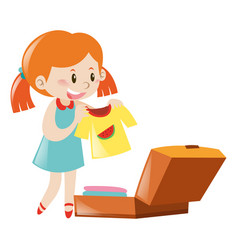 Little girl packing suitcase vector