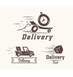 Logo fast delivery watch car and box vector