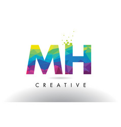 mh m h colorful letter origami triangles design vector image