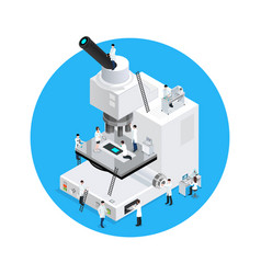 Microscope scientists round concept vector