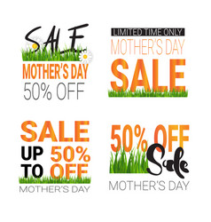 mothers day sale signs set isolated special offer vector image