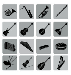 Musical instruments icon set folk music signs vector