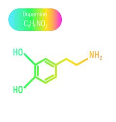 Neon gradient dopamine molecula vector