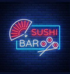 Neon sign logo sushi bar asian fast-food vector