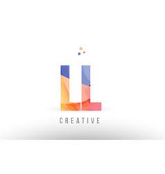 orange blue alphabet letter ll l l logo icon vector image