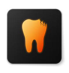 Orange glowing broken tooth icon isolated on white vector
