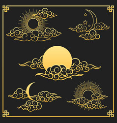 Oriental gold clouds sun and moon vector