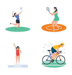 Pack of cricket hockey sports player icons vector