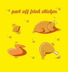 Part off fried chicken flat design vector