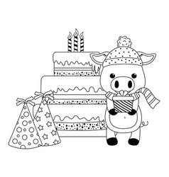pig cartoon with happy birthday icon design vector image