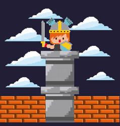 pixel game digital warrior character sword and vector image
