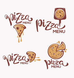 pizza menu pizza slice with lettering vector image