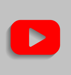 play button sign red icon with soft vector image