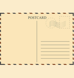 Postcard template vintage with stamps vector