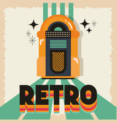 Poster retro style with music jukebox vector