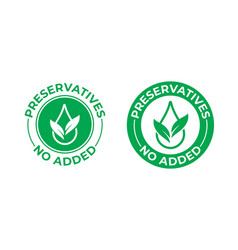 Preservatives no added icon green leaf and drop vector