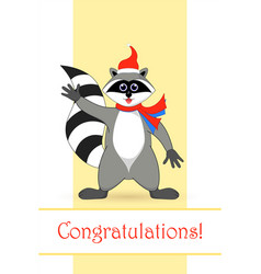 raccoon a gargle postcard greetings for the vector image