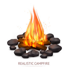 Realistic campfire background composition vector