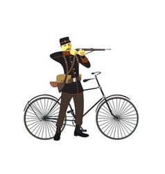 Retro vintage old bicycle and military man vector