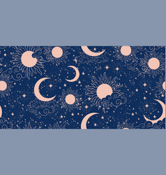 seamless blue space pattern with sun crescent and vector image