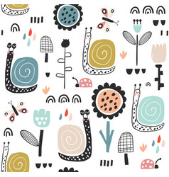 Seamless childish pattern with fairy flowers vector