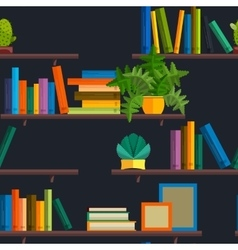 Seamless of bookshelfon wall with vector image