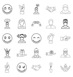 Sensation icons set outline style vector