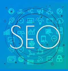 seo concept different thin line icons included vector image