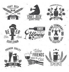 set craft beer and winery company badge sign vector image