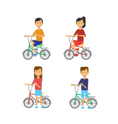 set different poses boy girl on bicycle over white vector image