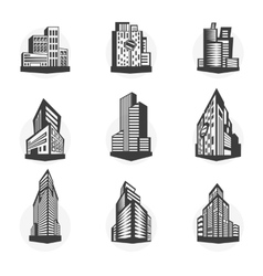 Set of black high-rise buildings and facades of vector image