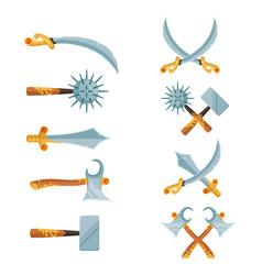 set of cartoon game design crossed swords vector image