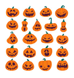 set of halloween scary pumpkins flat style spooky vector image