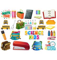 Set school objects vector