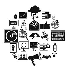 shadow internet icons set simple style vector image