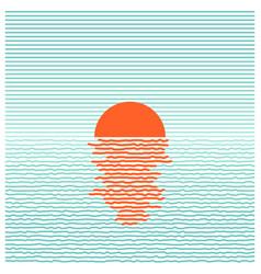 sunset in ocean - striped background line art vector image