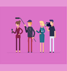 Television crew at work - modern flat design style vector
