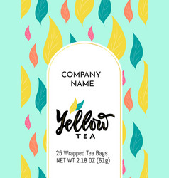 Template packaging yellow tea company name vector