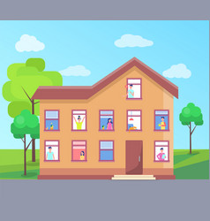 Three storey house people windows building vector