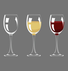 transparency empty and full red and white wine vector image