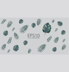 Tropical green leaf pattern background vector