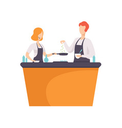 Tv presenter and guest cooking some food in tv vector