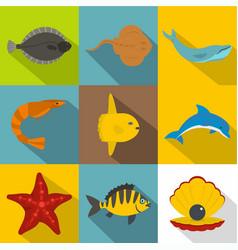 Underwater animal icon set flat style vector
