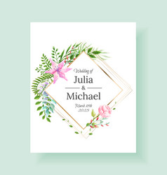 Wedding invitation frame set flowers leaves vector