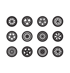 wheels car tire shapes transport vector image